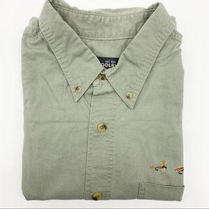 Woolrich Fishing Flies Sage Green Button Up Short Sleeve Shirt XL